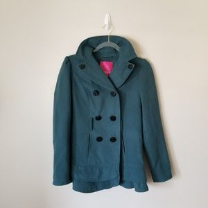 Double-Breasted Pea Coat with Lower Ruffles S